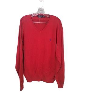 Ralph Lauren Polo Red Pima Cotton Vneck Sweater